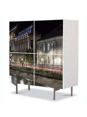 Comoda cu 4 Usi Art Work Urban Orase Palatul Justitiei Bucuresti, 84 x 84 cm