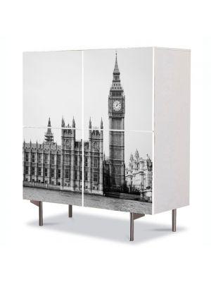 Comoda cu 4 Usi Art Work Urban Orase Palatul Westminster Alb Negru Londra, 84 x 84 cm