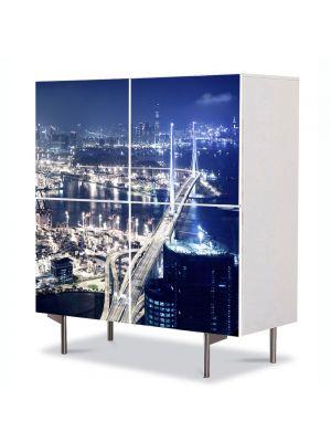 Comoda cu 4 Usi Art Work Urban Orase Hong Kong, 84 x 84 cm