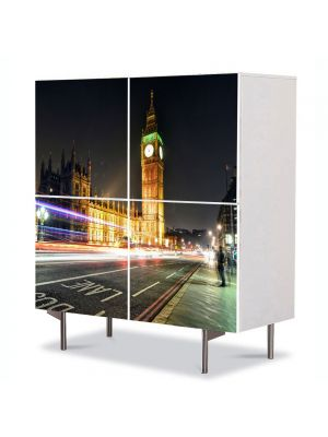 Comoda cu 4 Usi Art Work Urban Orase Big Ben Londra Anglia, 84 x 84 cm