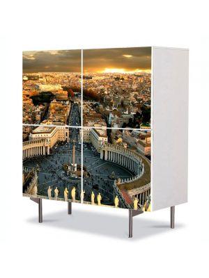 Comoda cu 4 Usi Art Work Urban Orase Piata San Pietro Roma Vatican, 84 x 84 cm