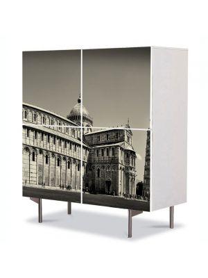 Comoda cu 4 Usi Art Work Urban Orase Turnul din Pisa Italia, 84 x 84 cm