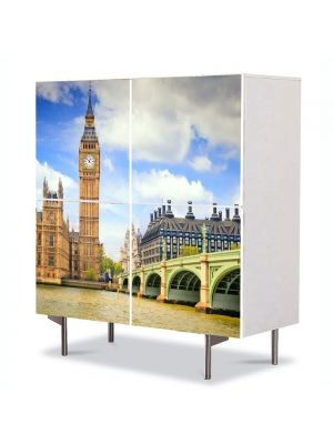 Comoda cu 4 Usi Art Work Urban Orase Big Ben Londra, 84 x 84 cm