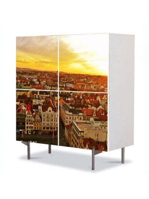 Comoda cu 4 Usi Art Work Urban Orase Cehia, 84 x 84 cm