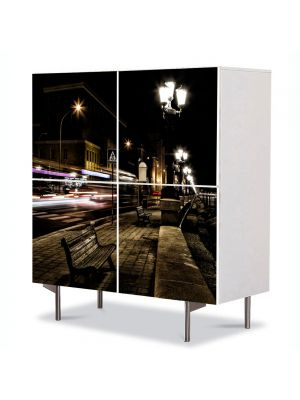 Comoda cu 4 Usi Art Work Urban Orase Promenada, 84 x 84 cm