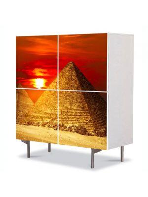 Comoda cu 4 Usi Art Work Urban Orase Piramide la apus, 84 x 84 cm
