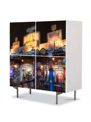 Comoda cu 4 Usi Art Work Urban Orase Lumini, 84 x 84 cm