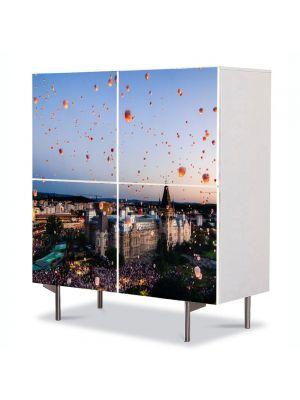 Comoda cu 4 Usi Art Work Urban Orase Lampioane in Iasi, 84 x 84 cm