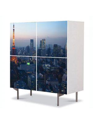 Comoda cu 4 Usi Art Work Urban Orase Tokyo Japonia, 84 x 84 cm