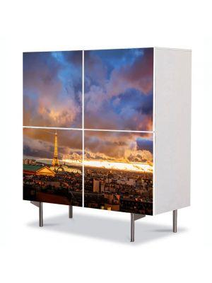 Comoda cu 4 Usi Art Work Urban Orase Noapte romantica la Paris, 84 x 84 cm