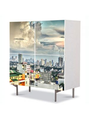 Comoda cu 4 Usi Art Work Urban Orase Acoperisuri, 84 x 84 cm