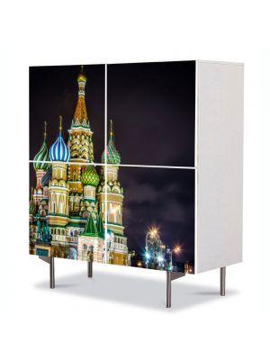 Comoda cu 4 Usi Art Work Urban Orase Catedrala in Moscova, 84 x 84 cm
