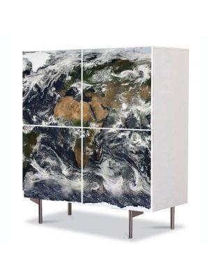 Comoda cu 4 Usi Art Work Urban Orase Harta lumii din satelit, 84 x 84 cm