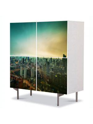 Comoda cu 4 Usi Art Work Urban Orase Shanghai, 84 x 84 cm
