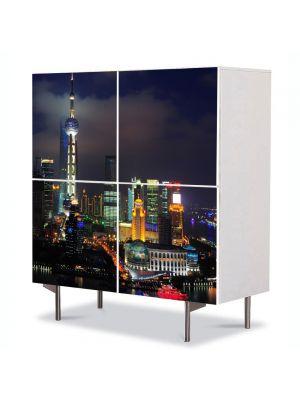 Comoda cu 4 Usi Art Work Urban Orase Shanghai China noaptea, 84 x 84 cm