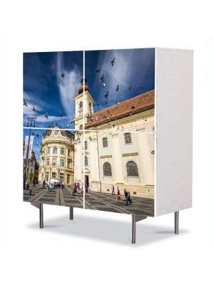 Comoda cu 4 Usi Art Work Urban Orase Sibiu Romania, 84 x 84 cm