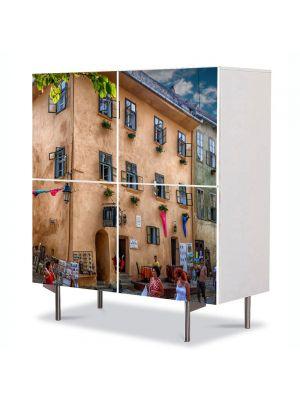 Comoda cu 4 Usi Art Work Urban Orase Casa Dracula Sighisoara, 84 x 84 cm