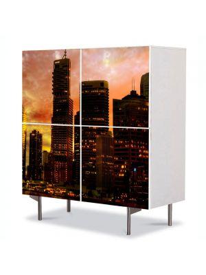 Comoda cu 4 Usi Art Work Urban Orase Cladiri la apus, 84 x 84 cm