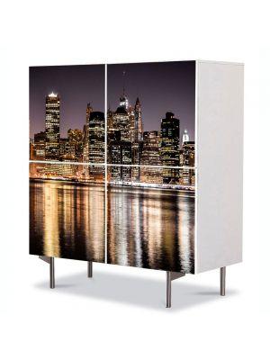 Comoda cu 4 Usi Art Work Urban Orase Zgarie norii New york ului, 84 x 84 cm