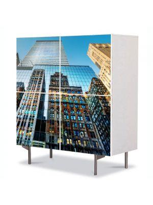 Comoda cu 4 Usi Art Work Urban Orase Reflexie in cladiri, 84 x 84 cm