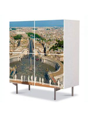 Comoda cu 4 Usi Art Work Urban Orase Piata Sfantul Petru in roma, 84 x 84 cm