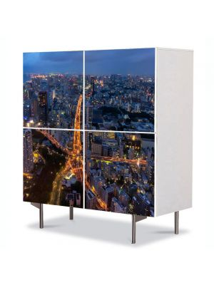 Comoda cu 4 Usi Art Work Urban Orase Intersectie stea, 84 x 84 cm
