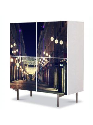 Comoda cu 4 Usi Art Work Urban Orase Strazile orasului in noapte, 84 x 84 cm