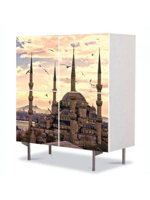 Comoda cu 4 Usi Art Work Urban Orase Moscheea Sultan Ahmed Istanbul, 84 x 84 cm