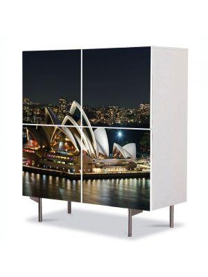 Comoda cu 4 Usi Art Work Urban Orase Sydney Australia, 84 x 84 cm