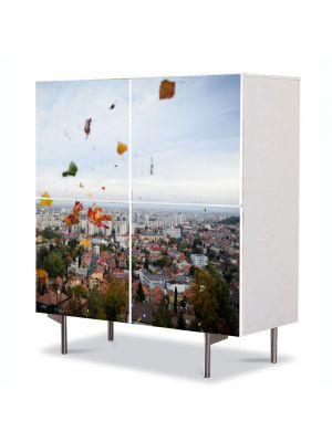 Comoda cu 4 Usi Art Work Urban Orase Deasupra Brasovului, 84 x 84 cm