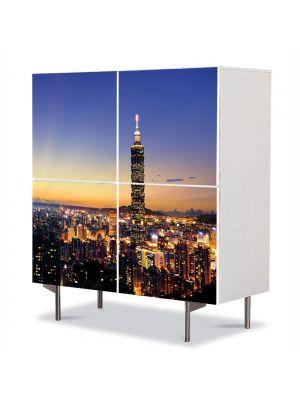 Comoda cu 4 Usi Art Work Urban Orase Taipei, 84 x 84 cm