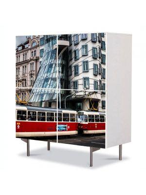 Comoda cu 4 Usi Art Work Urban Orase Scurgerea timpului, 84 x 84 cm