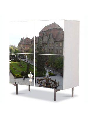 Comoda cu 4 Usi Art Work Urban Orase In Timisoara, 84 x 84 cm