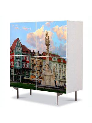 Comoda cu 4 Usi Art Work Urban Orase Centrul Timisoarei, 84 x 84 cm