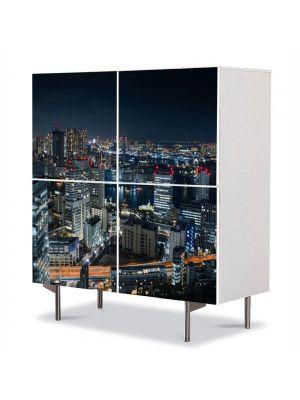 Comoda cu 4 Usi Art Work Urban Orase Port in Tokyo, 84 x 84 cm
