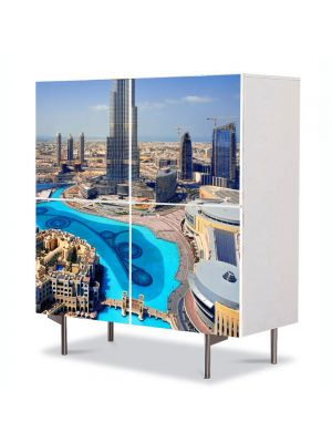 Comoda cu 4 Usi Art Work Urban Orase Emiratele Arabe Unite, 84 x 84 cm
