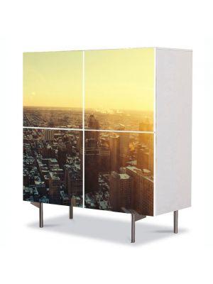 Comoda cu 4 Usi Art Work Urban Orase Rasarit in oras, 84 x 84 cm