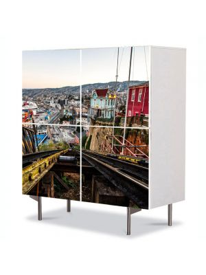 Comoda cu 4 Usi Art Work Urban Orase Valparaiso, 84 x 84 cm
