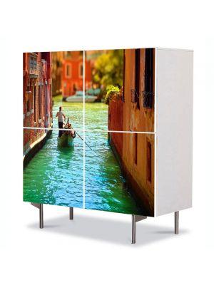Comoda cu 4 Usi Art Work Urban Orase Pe canal in Venetia, 84 x 84 cm