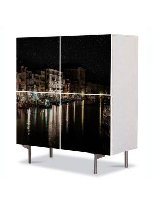 Comoda cu 4 Usi Art Work Urban Orase Canalul Venetian noaptea, 84 x 84 cm