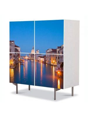 Comoda cu 4 Usi Art Work Urban Orase Lumini pe canal in Venetia, 84 x 84 cm
