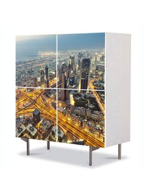 Comoda cu 4 Usi Art Work Urban Orase Vedere de sus in Dubai, 84 x 84 cm