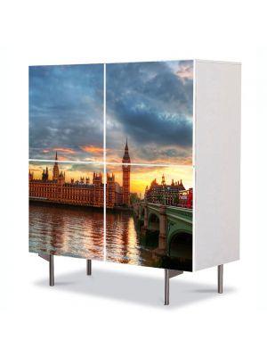 Comoda cu 4 Usi Art Work Urban Orase Palatul Wesminster Anglia, 84 x 84 cm