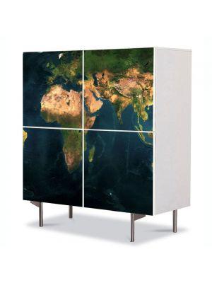 Comoda cu 4 Usi Art Work Urban Orase Harta lumii relief, 84 x 84 cm