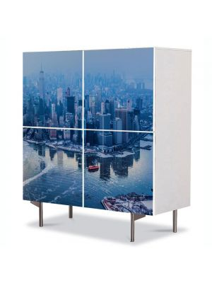 Comoda cu 4 Usi Art Work Urban Orase Manhattan New York City, 84 x 84 cm