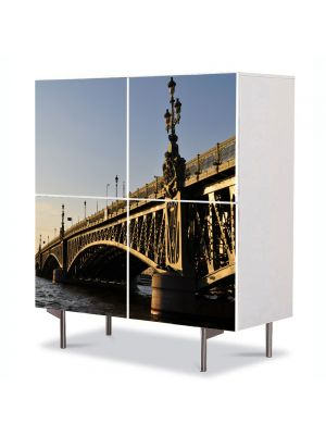 Comoda cu 4 Usi Art Work Urban Orase Pod in Saint Petersburg Rusia, 84 x 84 cm