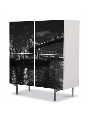Comoda cu 4 Usi Art Work Urban Orase Podul Brooklyn Alb Negru, 84 x 84 cm
