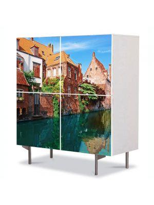 Comoda cu 4 Usi Art Work Urban Orase Orasul Bruges in Belgia, 84 x 84 cm