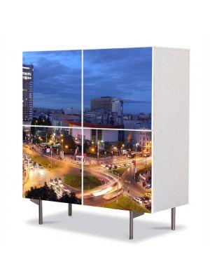 Comoda cu 4 Usi Art Work Urban Orase Universitate Bucuresti, 84 x 84 cm