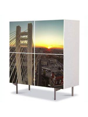 Comoda cu 4 Usi Art Work Urban Orase Podul Basarab Bucuresti, 84 x 84 cm